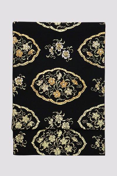 銀座【帯3238】龍村平蔵製 本袋帯 黒色「窠中繍花文」