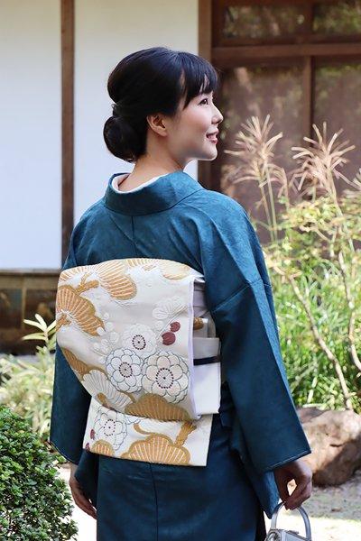 銀座【帯3242】唐織 袋帯 白色 松梅文