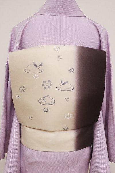 銀座【K-6518】紬地 染名古屋帯 練色×濃色 竪暈かしに雪兎の図