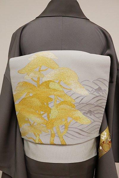銀座【K-6520】本綴れ 開き八寸名古屋帯 灰黄緑色 波に松の図