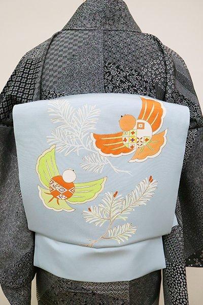 銀座【K-6521】菱健製 塩瀬 染名古屋帯 空色 若松に福良雀(反端付)(N)