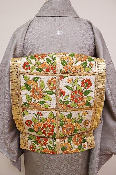 銀座【L-4899】たつむら製 本袋帯「山茶鎌倉彫」