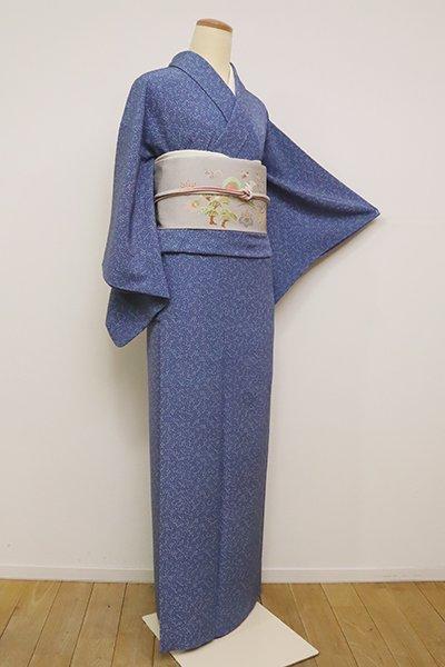 銀座【C-1797】(S)日本工芸会正会員 坂口幸市作 加賀小紋 青藍色 小花文(落款入)