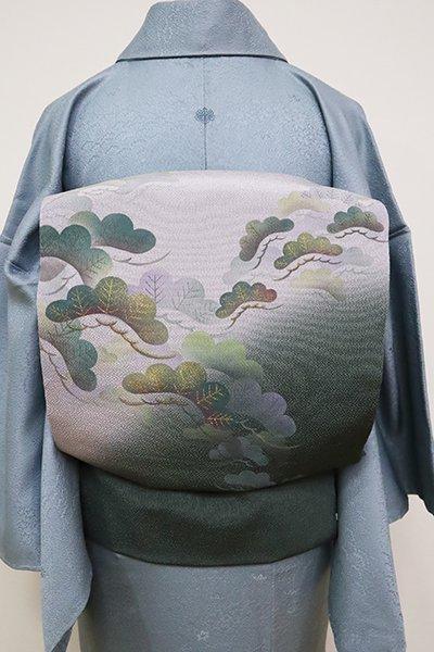 銀座【K-6522】縮緬地 染名古屋帯 柳煤竹色×牡丹鼠色 松の図(落款入)