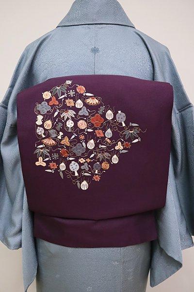 銀座【K-6523】刺繍 名古屋帯 滅紫色 宝尽くし文