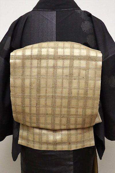 銀座【K-6532】野蚕糸 織名古屋帯 榛色 格子文 (反端付)
