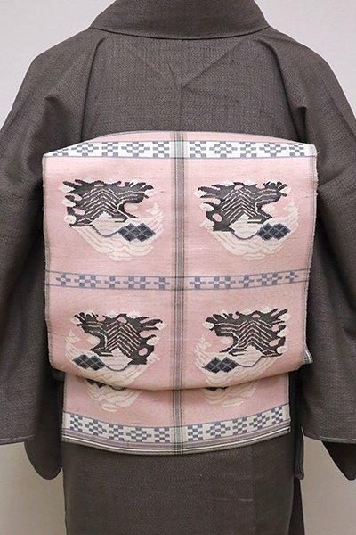 銀座【L-4904】本袋帯 灰桜色 甲比丹孔雀文