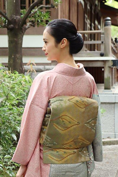 銀座【帯3246】西陣製 袋帯 松菱文 (端布付)