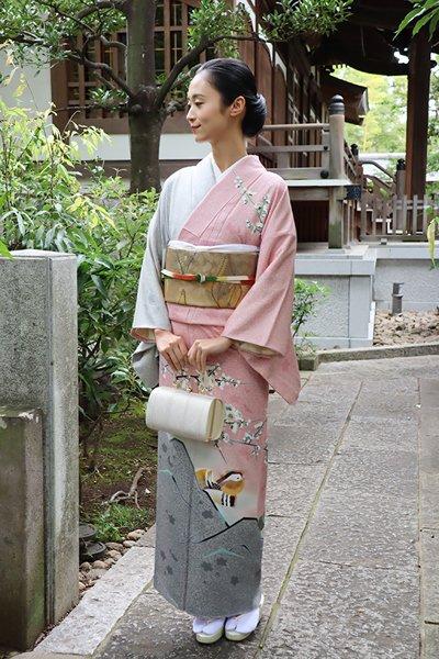 銀座【着物2676】TOKIO et TOKI 訪問着 蒔糊に梅花の図 (落款入)