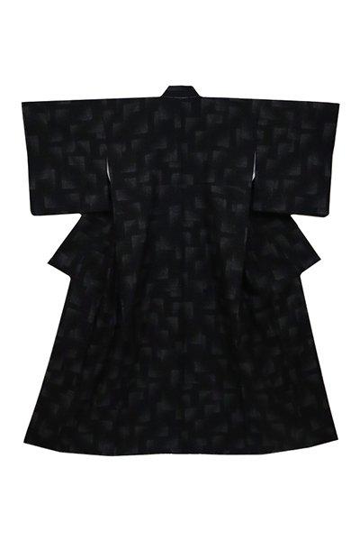 銀座【着物2681】本場結城紬 黒色 幾何文 (反端証紙付)