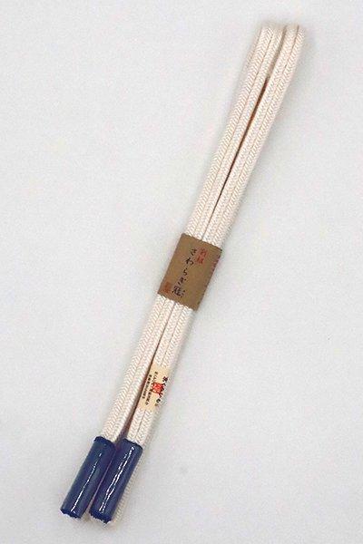 あおき【G-1531】京くみひも 正絹 帯締め 冠組 白色×褐返色(新品)