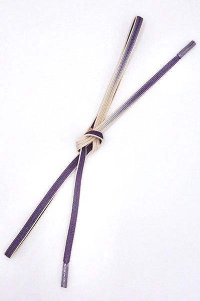 銀座【G-1536】京都 衿秀製 帯締め 畝打組 濃鼠色×灰白色 二色暈かし(新品)