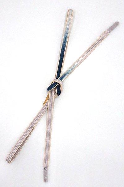 銀座【G-1537】京都 衿秀製 帯締め 畝打組 白梅鼠色×紺鼠色 二色暈かし(新品)
