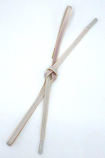 銀座【G-1542】京都 衿秀製 帯締め 畝打組 月白色×白藤色 二色暈かし(新品)