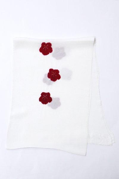 銀座【G-1556】京都 衿秀製 縮緬地 帯揚げ 飛び絞り 梅 白色×赤銅色(新品)