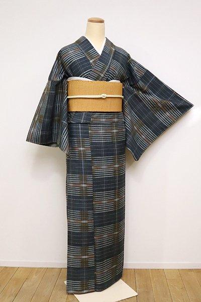 銀座【A-2996】紬 高麗納戸色 格子縞