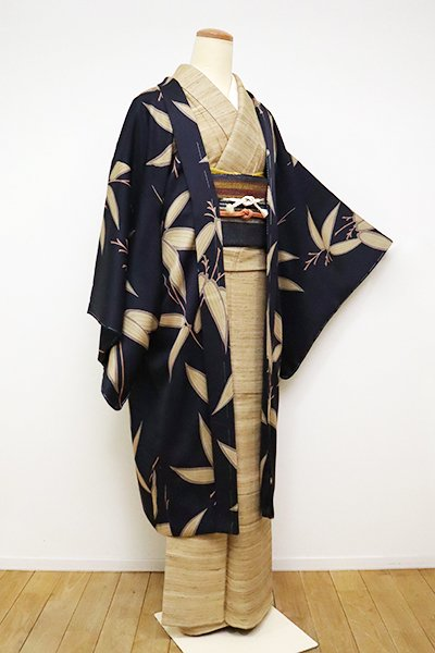 銀座【E-1181】羽織 藍鉄色 笹の図(反端付)(N)