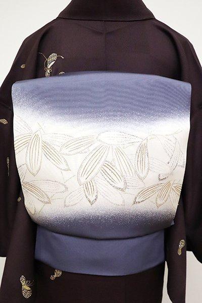 銀座【K-6534】塩瀬 染名古屋帯 褐色 笹の図