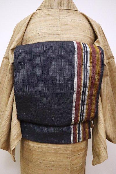 銀座【K-6537】紬地 織八寸名古屋帯 藍墨茶色 竪縞