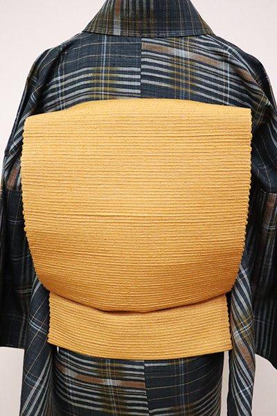 銀座【K-6538】紬地 織八寸名古屋帯 小麦色 無地