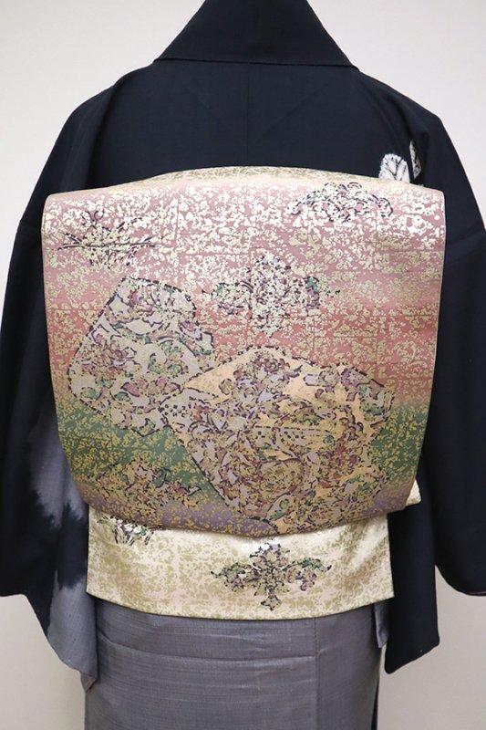 銀座【L-4906】牛首紬地 洒落袋帯 鳥の子色 裂取り文(証紙付)