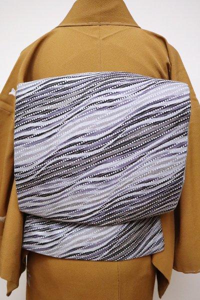 銀座【L-4907】洒落袋帯 灰青色 流線文