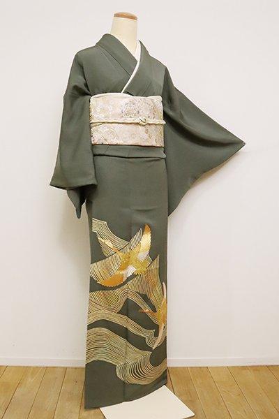 銀座【B-2463】(S)千總製 染三ッ紋 色留袖 藍海松茶色 波に飛鶴の図(落款入)