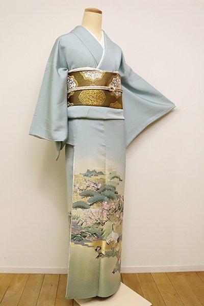 銀座【B-2464】(S)寿光織 染一ッ紋 色留袖 秘色色「吉祥伝承図」