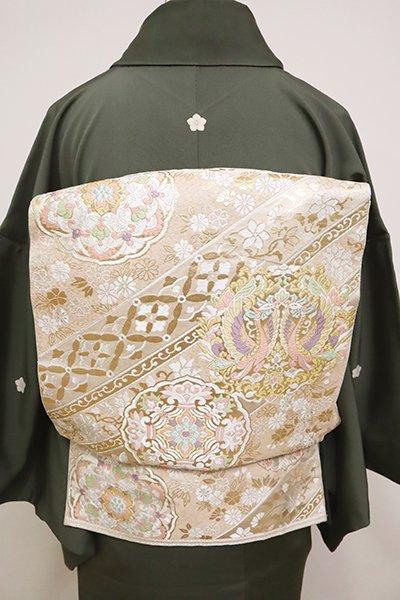 銀座【L-4908】西陣 服部織物製 袋帯 練色 鳳凰と鏡裏文(落款入)