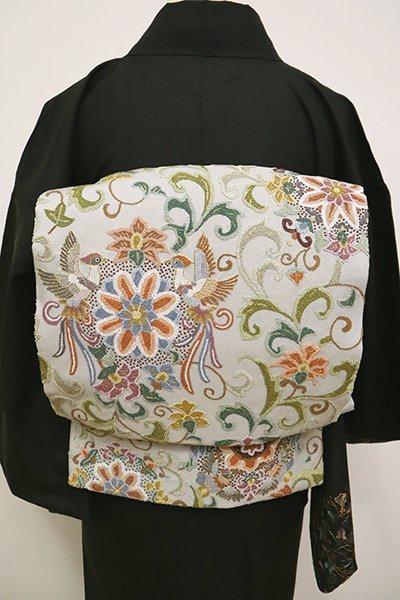 銀座【L-4910】相良刺繍 袋帯 灰黄緑色 唐花に鳳凰などの図