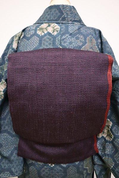 銀座【L-4912】紬地 洒落袋帯 濃色×葡萄色