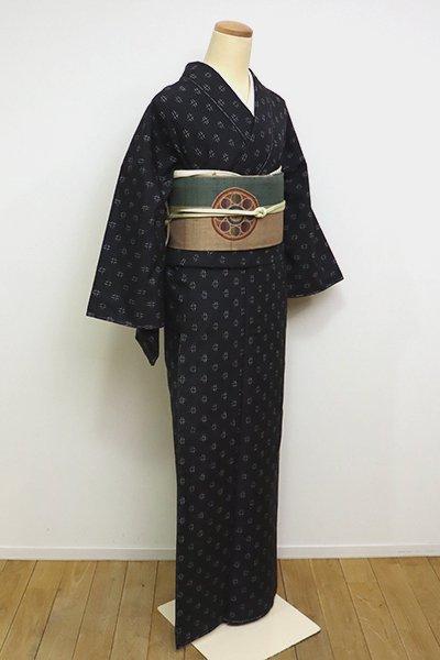 あおき【A-2998】(広め)紬 藍鉄色 幾何絣文