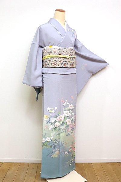 銀座【B-2468】訪問着 霞色 優美な花々の図(落款入)