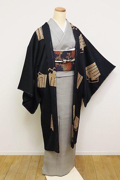 銀座【E-1189】羽織 黒色 源氏香の図(反端付)(N)