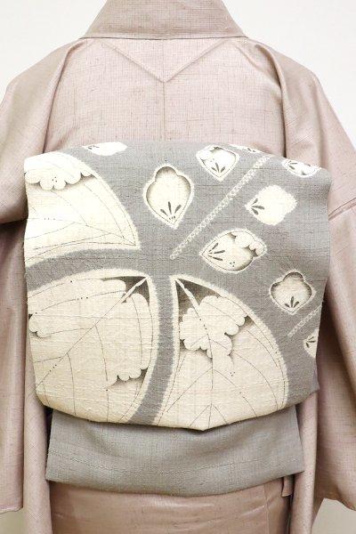 銀座【K-6541】京都しょうざん製 生紬地名古屋帯 薄鈍色 桐の図