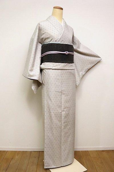 銀座【A-3006】(S)結城紬 乳白色 縞に小絣(証紙付)