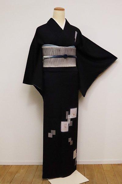 銀座【B-2470】(細め)付下げ 黒色 色紙文(京都大丸扱い・反端付)