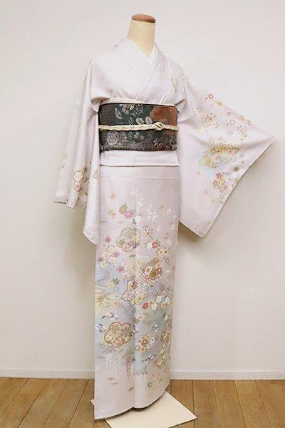 銀座【B-2471】訪問着 桜鼠色 四季花の図