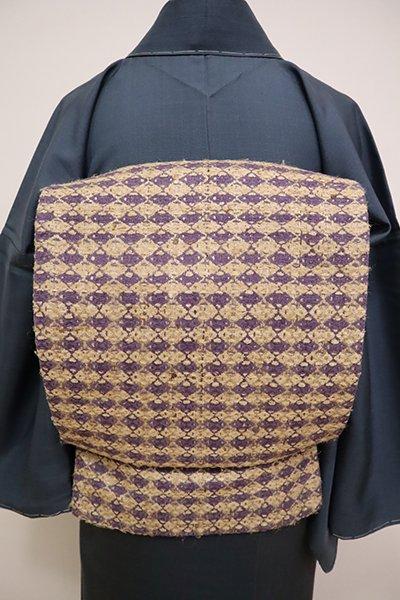 銀座【K-6546】京袋帯 香色×藤紫色 菱文