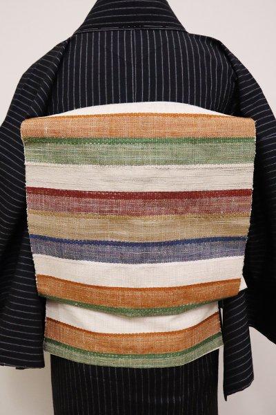 銀座【K-6547】紬地 織八寸名古屋帯 多彩な横段
