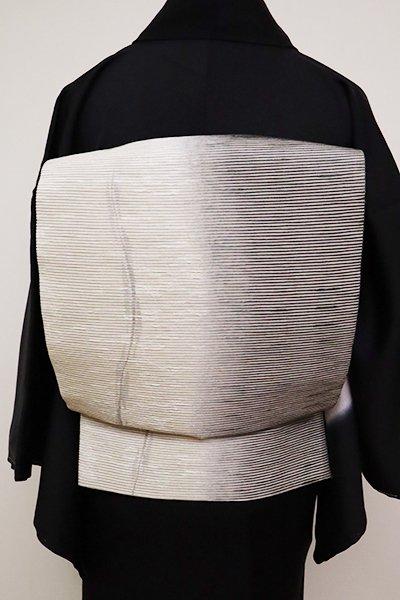 銀座【L-4916】洒落袋帯 練色×薄鈍色 流線暈かし