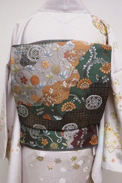 銀座【L-4917】西陣 河村織物製 袋帯 道長取りに名物裂文など(落款入)