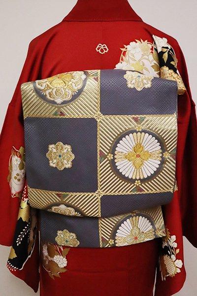 銀座【L-4918】西陣 じゅらく製 袋帯 褐色 市松に華文(落款入)