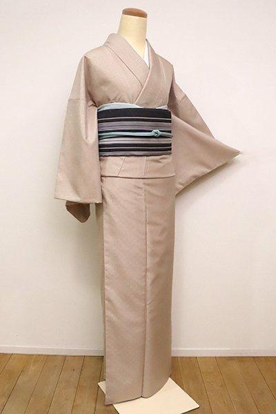 あおき【A-3007】十日町紬 浮織着物 白茶色 細縞
