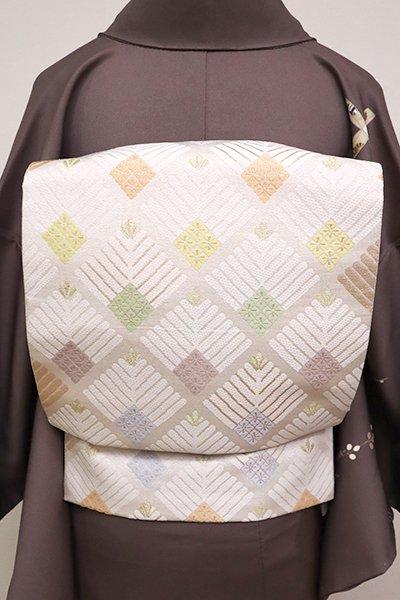 銀座【L-4922】西陣製 袋帯 白色 若松の菱文(証紙付)(N)