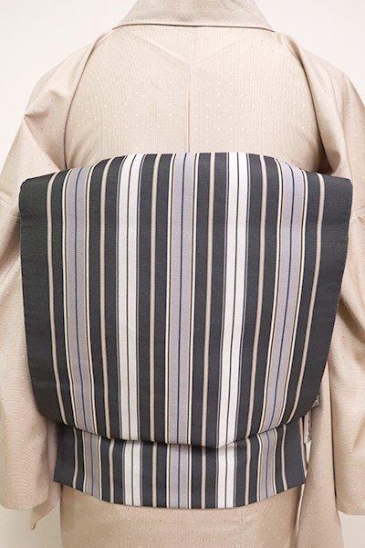 あおき【L-4923】博多織 洒落袋帯 濃墨色  竪縞
