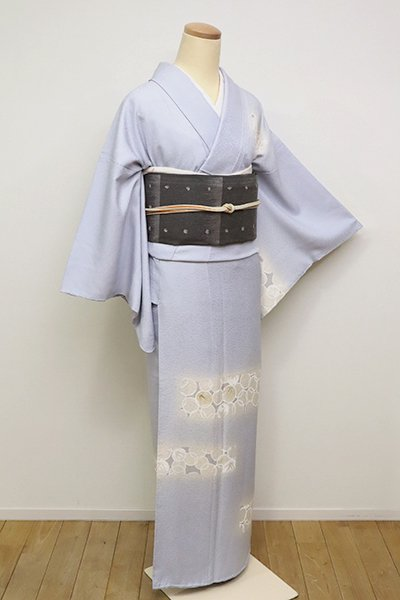 銀座【B-2477】(S)染一ッ紋 付下げ 白菫色 竹の丸文