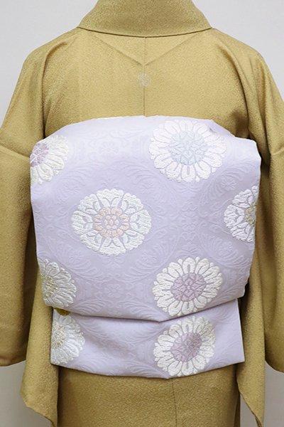 銀座【K-6552】西陣製 織名古屋帯 白藤色 有職花文(証紙付・反端付)(N)