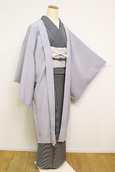 銀座【E-1204】羽織 灰青色 よろけ縞に千鳥(反端付)(N)