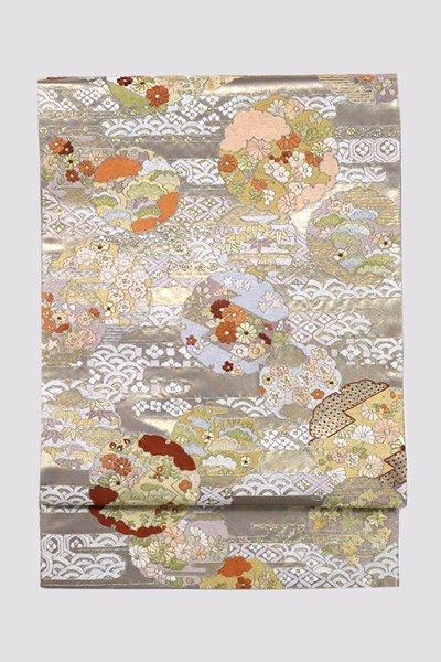 銀座【帯3250】総刺繍 袋帯 薄鼠色 雪輪文